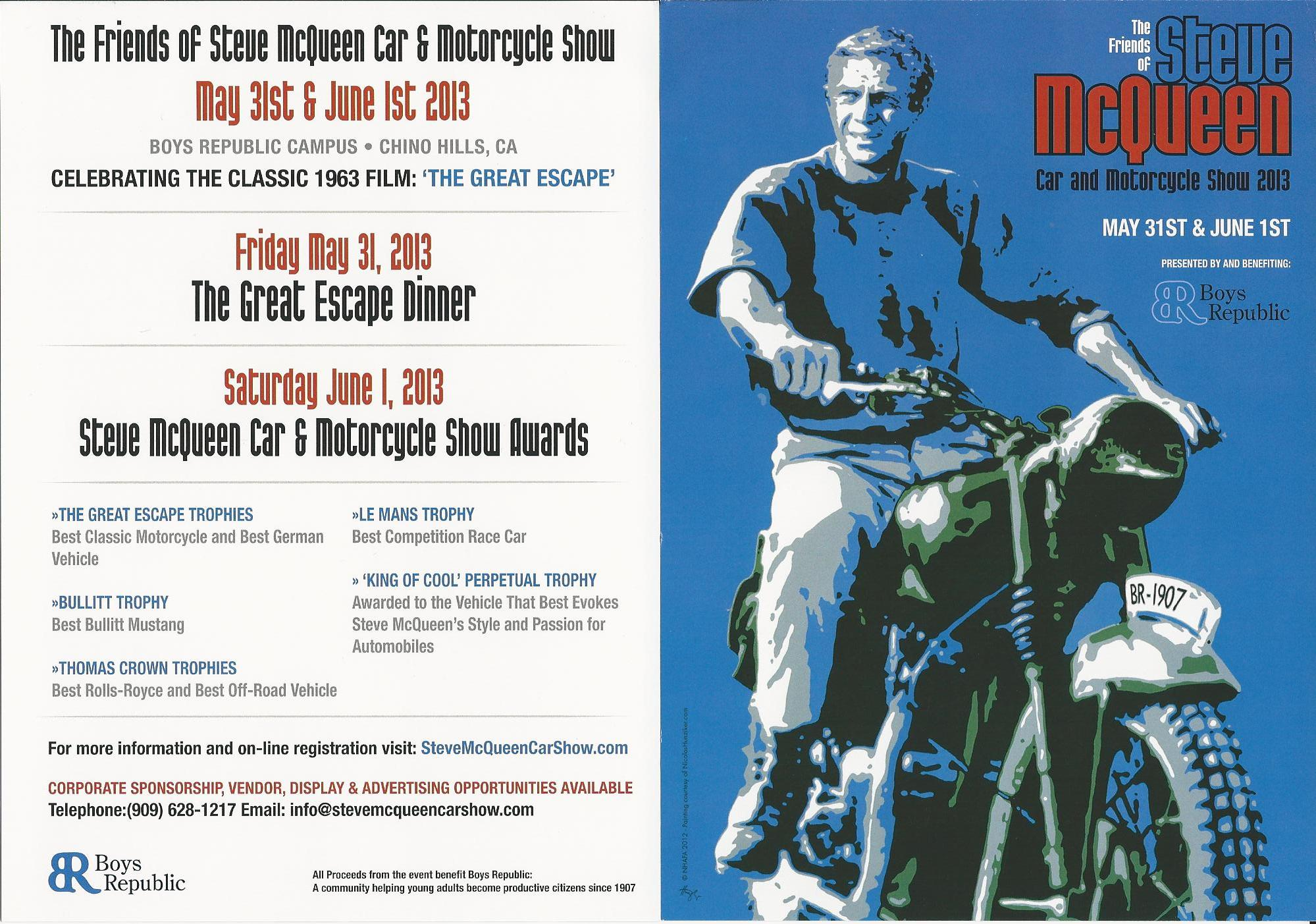Plan for a Great Escape at the Sixth Annual Friends of Steve McQueen Car and Motorcycle Show