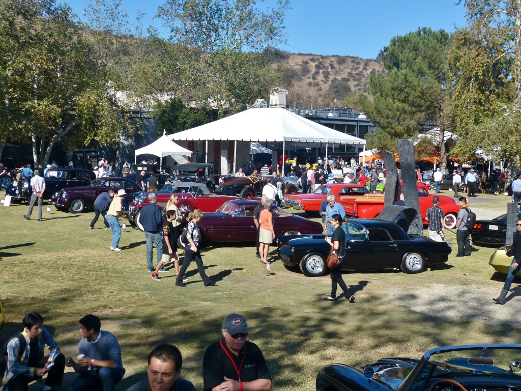 Legendary SoCal racer/designer/hot rodder Doane Spencer's heavily reengineered '55 Thunderbird was on hand, and in case you might recocnize the blue shirt and mop of gray hair standing just behind it, yes that's Jay Leno, and Art Center Classic regular attendee and supporter