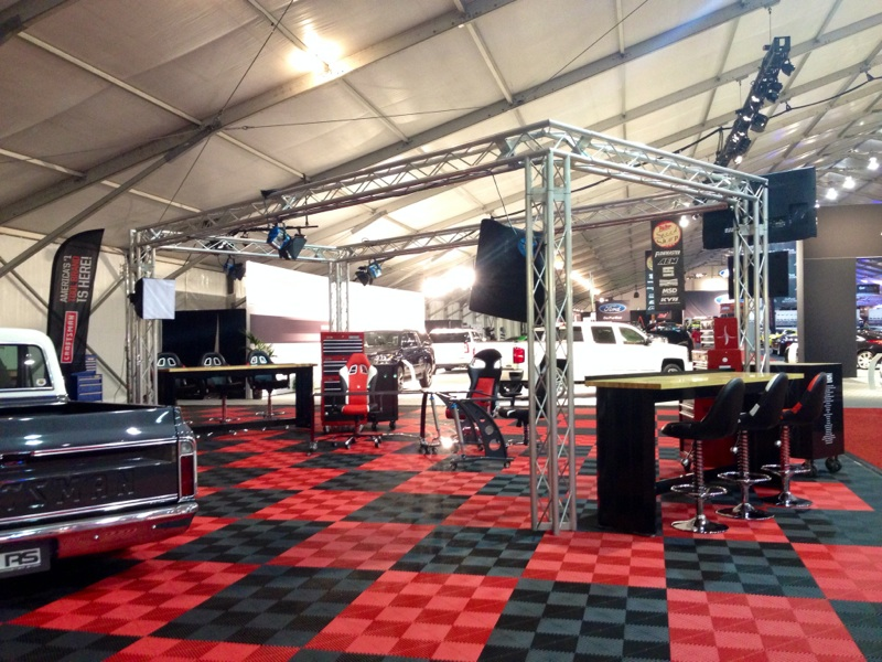 My home for next week; still under construction, the ERN broadcast studio at Barrett-Jackson
