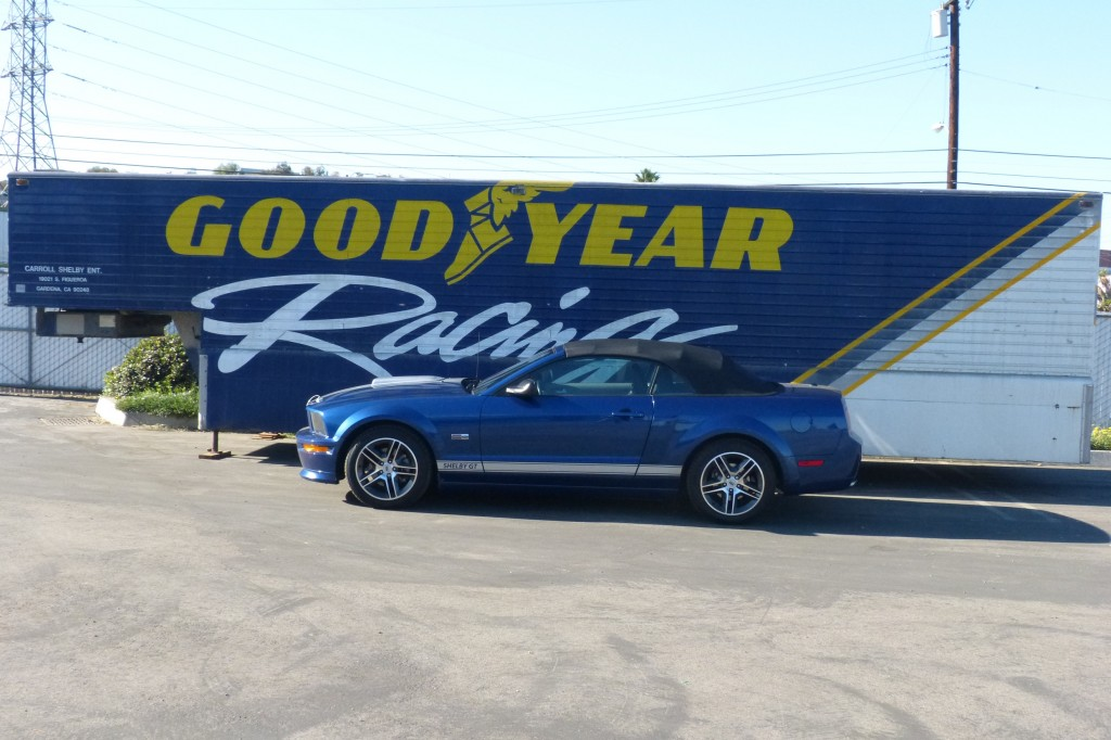 """The """"old"""" Goodyear racing tire trailer still decorates the Shelby Los Angeles parking lot"""