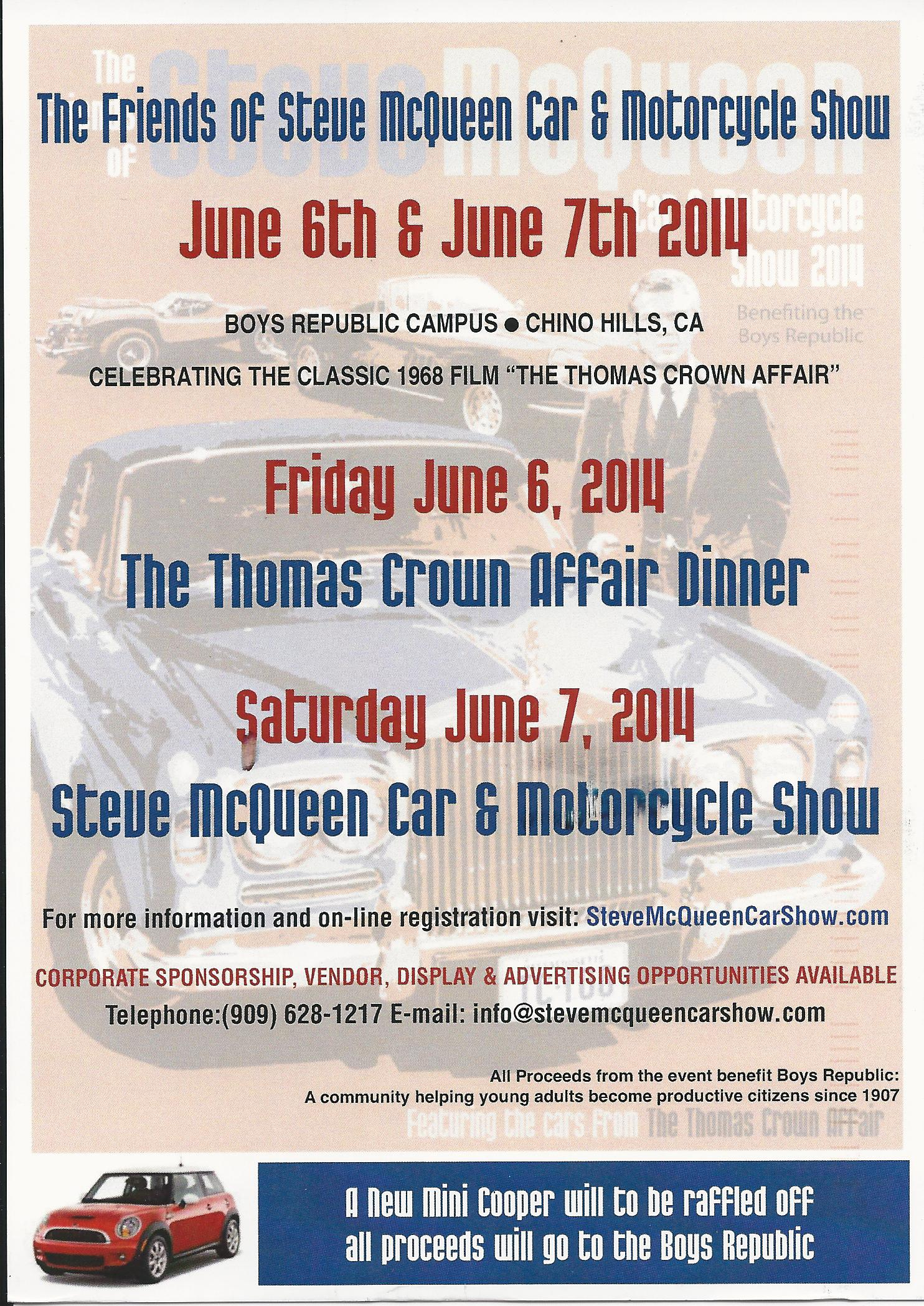 Calendar Alert: The Friends of Steve McQueen Car Show weekend is June 6/7, 2014