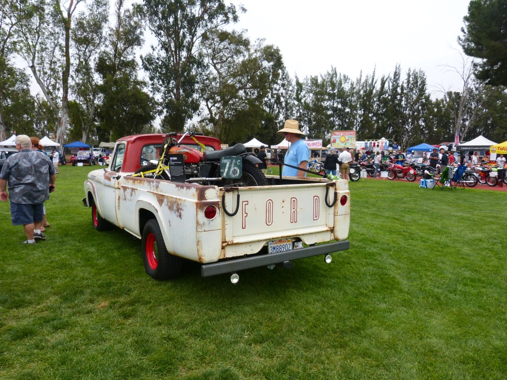This one tugged at my heartstrings just a bit, being my former '62 Ford F-100, now belonging to my friend Vinnie, who toted out his early 60s ex-Ekins/Ekins/Colemn Triumph off-road racing bike to the show