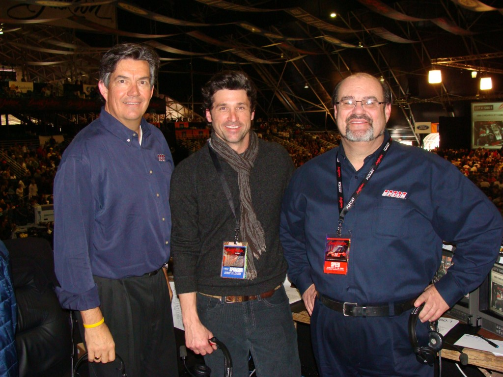 Two cool dudes and one old fat guy; My friend and SPEED's Five Star general Bob Varsha, plus also my friend and serious racer and car guy, Dr. McRacy, Patrick Dempsey