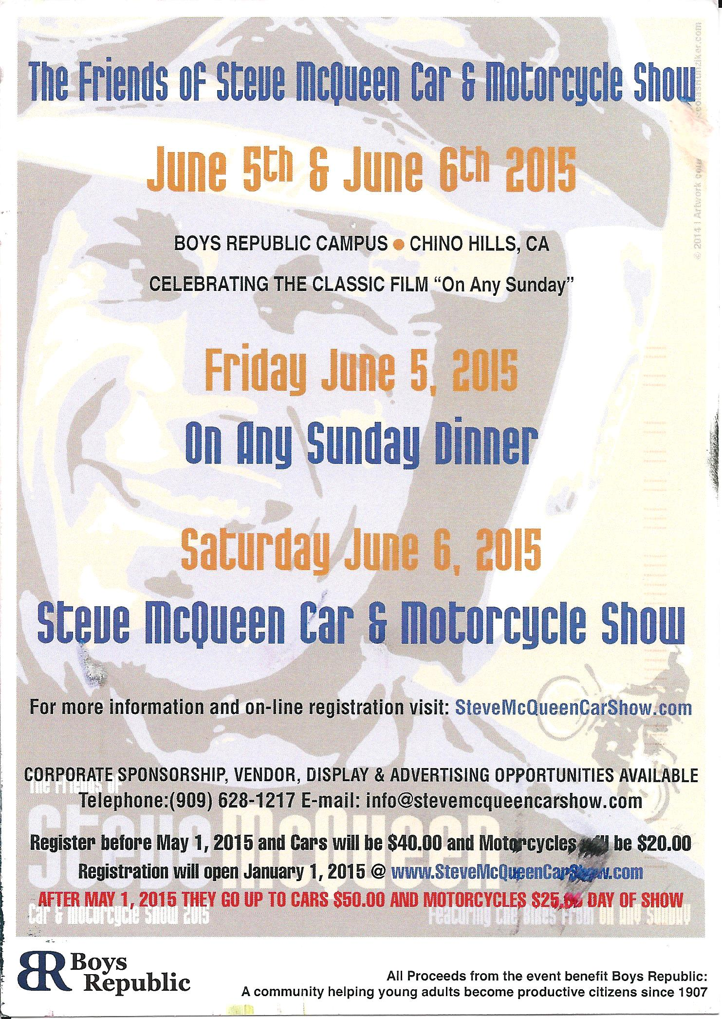 Car Show Calendar alert: Friends of Steve McQueen Car Show weekend is June 5/6