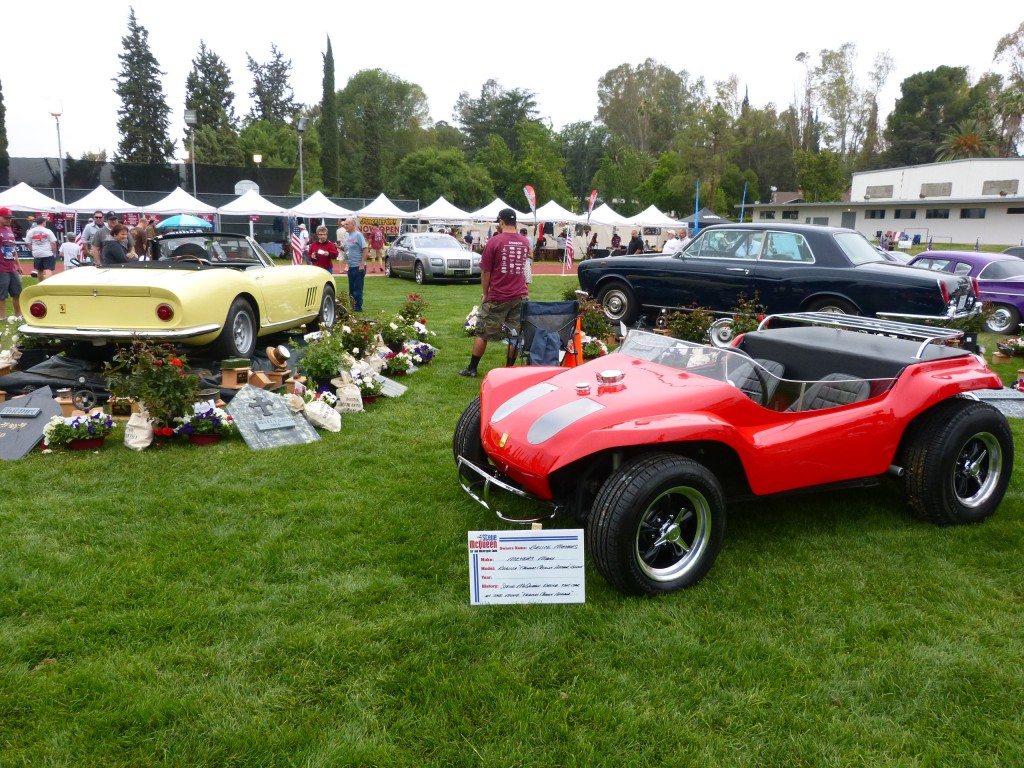 The Three hero cars from the original Thomas Crown Affair; Ferrari 275 NART Spyder, Rolls-Royce Corniche coupe, and modified Meyers Manx dune bug.  The Rolls and Ferrari are the actual cars used in the film, the Manx a modern tribute machine done up with the original builder, Bruce Meyers