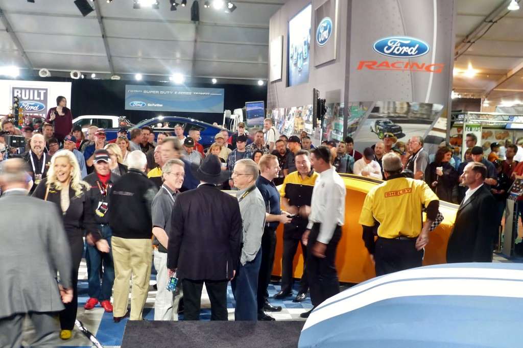 """Let 'em in!  Instead of the usual media only press conference, the Shelby GT reveal was held in the Ford Booth at Barrett-Jackson with the public and all Shelby enthusiasts welcome.  One Shelby exec commented that this was critical """"because without the public, our customers and our fans, we got nuthin"""""""