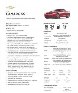 Camaro fact sheet
