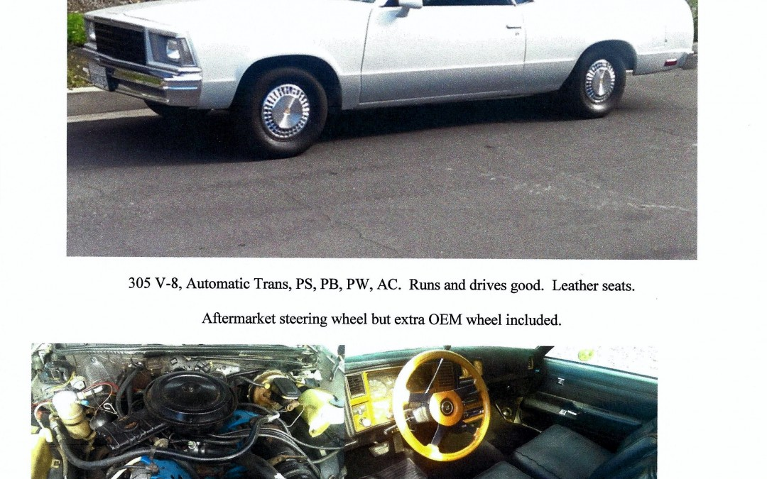 FOR SALE: 1979 Chevrolet El Camino V-8