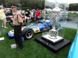 Without question one of the most innovate, creative and dazzling concours classes every anywere was this year's gathering of iconi racing trophies from around the world, each displayed with a car that has won that race.   This is the Indy 500's pure silver Borg Warner trophy, along with Al Unser Sr's 1970 winning Parnelli Jones Colt.