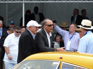 Two important and very cool guys at Amelia; Chairman and Founder Bill Warner at left, and 2016 honoree Hans-Joachim Stuck, center, in shades.  Luv these guys!