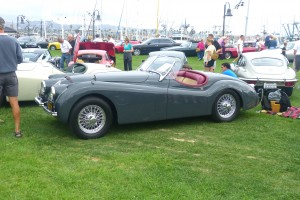This fabulous XK120 Roadster got my vote for best in show; its a great, historic model, it was authentically and perfectly restored, in marvelous, elegant period colors.  Yum, purr.