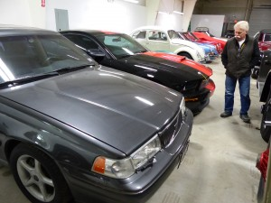 Wayne surveys the ex-Paul Newman Volvo wagon which PLN equipped with a supercharged Mustang GT 5.0 powertrain, and his friend David Letterman has a nearly identical car.