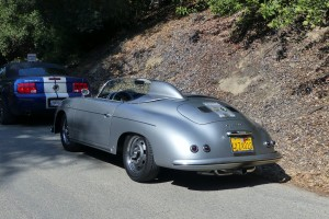 Check out the racy deck fairing on this semi hot rodded Speedster parked just behind me.