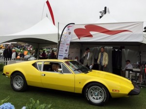 One of the highlights of my Monterey is working as the morning emcee at Concorso Italiano.  I get to hand out the 2nd and third place trophies, plus interview cool car people.  That's me at left with my friend and  DeTomaso Pantera designer Tom Tjaarda on the right.  This yellow Pantera L is a near twin to the one I owned from 1980 until the late 90s sometime, and I miss it every day.