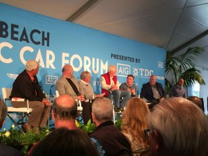 Legends, heroes, and friends at one of the Pebble Beach collector car forum panels: from left, Tom Gale, me, Bill Warner, Wayne Carini, Ralph Murano, Dave Kinney, and McKeel Hagerty.  Smart guys who I'm honored to join, and have fun with and learn from at the same time.