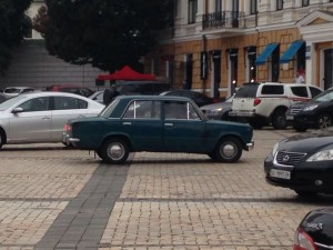 Mo bagged this little Moskovich on the streets of Kiev, the boxy lines still Fiat all the way.
