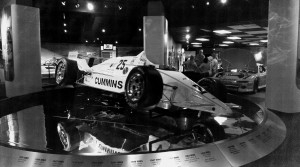 This is what you see when you walk in. 1987 was the Indy 500 it seemed nobody wanted to win. Mario Andretti was in the lead by miles, en route to his long deserved second Indy win. But his new Chevy engine crapped out. Roberto Guerrero took over the lead, but had problems in the pits, and Al Unser Senior passed him in this year old car to take his 4th Indy flag. Amazing.