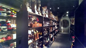 """The glass encased tropy and helmet """"closet"""" is a most impressive thing in and of itself!"""