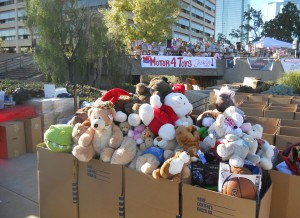 This is the goal; lots of cars, lots of generous people, and mountains of toys for the less fortunate.