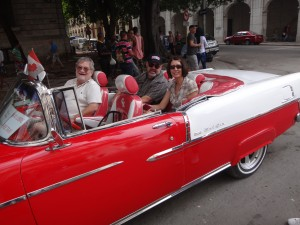 Look like fun? Trust me, its a hoot. Linda and I in the back, Carlos driving his car, and my new BFF Dave in the front passenger seat.