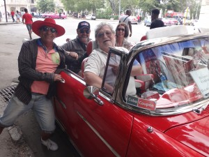 Check out the photobomber on the left; he's Carlos, a crazy talkative Lebanese who retired to Cuba and built this fabulous '55 Bel Air convert, replete with modern Hyundai turbodiesel power and manual transmission.