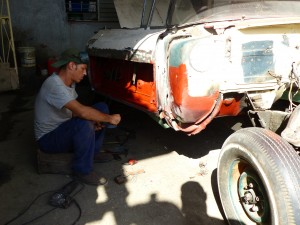 Its old school with hand tools at NostalgicarCuba. These guys do the heavy lifting and the cars come out great.