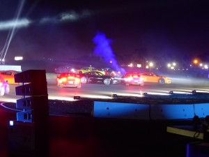 PECLA resemble night at Le Mans as a serious gaggle of race cars took to the track; lots of spectacular light, color, motion, noise and fireworks.