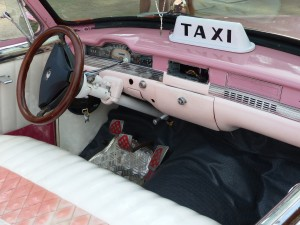 Check out the Plymouth's Alfa Romeo steering wheel and column. Necessity is the mother of invention in Cuba Car Culture.