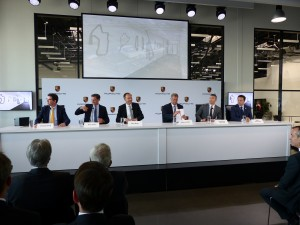 Porsche's senior management team held a detailed and well organized press conference for the media.