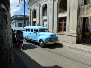 The Blue Whale looms large on the quaint narrow streets of Sienfuegos.
