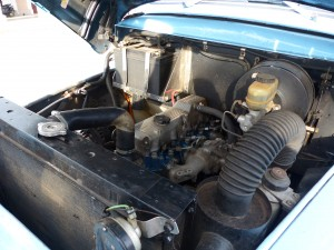 No wheezy old flathead in here; the Blue Whale's entire chassis and powertrain updated by Frank and his build team; this is a naturally aspirated four-cylinder Toyota diesel engine, handily mated to a Nissan 5-speed truck transmission.