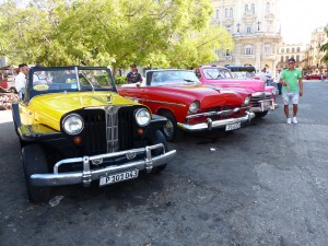 Willys, Jeeps, Jeepsters, and Toyota Land Cruisers very popular and worth good money in Havana.
